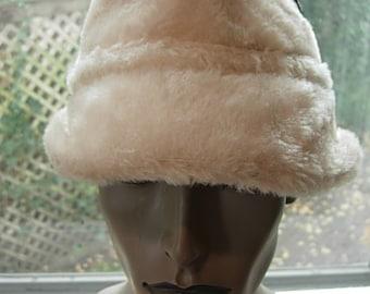 Deadstock Unworn Fabulous Beige Faux Fur 1960s Winter Hat