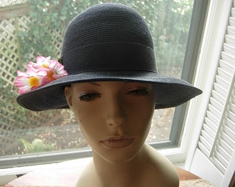 Lovely 1960s Midnight Blue Straw hat with Pink Flowers