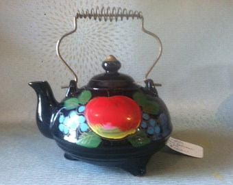 Vintage redware footed teapot