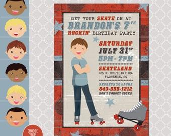 Roller Skating Invitation - Skating Invitation - Roller Blading printable - Skating Birthday Party - Boy Birthday Invitation - Skate