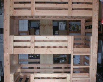 Heavy Duty Solid Wood Custom Made Triple Bunk Bed Full Size