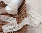 Crochet Cotton Lace Trim, Unbleached Natural Cotton Lace 3.3cm Wide - Natural Color Cotton Lace Or White Color Bridal Wedding Cotton Lace.