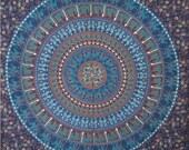 Blue Mandla Tapestry, Mandala Psychedelic Hippie wall hanging, Bed Decor, Indian Mandala Tapestry, Indian Etchnic Tapestry, Throw Bedspread