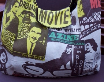 Retro, Vintage fabric shoulder handbag. Audrey Hepburn design fabric cotton shoulder bag. You choose your fabric, we will create it.