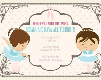 Twins Birthday Invitation - Twin Ballerina's Birthday Party Invitation