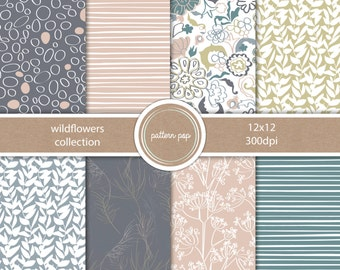 Hand drawn Digital Papers and Backgrounds - personal, photographers or small commercial