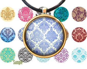 Damask Vintage - Digital bottle caps images - 1'' circles for Jewelry Making, Digital Collage Sheets, Buttons, Magnets, BUY 2 GET 1 FREE