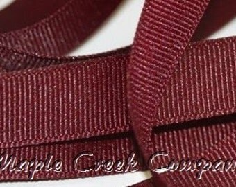 "5 yards Burgundy Wine Grosgrain Ribbon, 4 Widths Available: 1 1/2"", 7/8"", 5/8"", 3/8"""