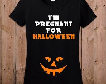 Maternity halloween costumes Maternity halloween shirt pregnancy halloween costumes I'm pregnant for halloween tshirt T- shirt Tee shirt