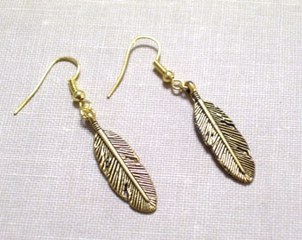 Antiqued Gold Plated Feather Earrings, Bird Feather Jewelry, Southwestern Tribal Jewelry