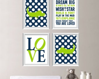 Polka Dot Alligator Crocodile Love Print Quad - Wall Art. Baby. Decor. Nursery. Boy - Shown in Navy Green White - You Pick the Size (NS-249)