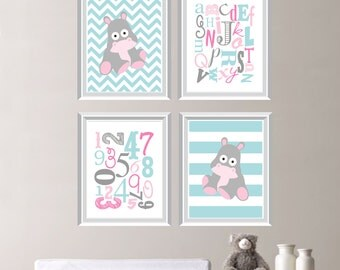 Baby Girl Nursery Art - Girl Nursery Decor - Hippo Nursery Art - Hippo Bedroom Art - Hippo Art - Hippopotamus - Aqua Blue Purple (NS-592)