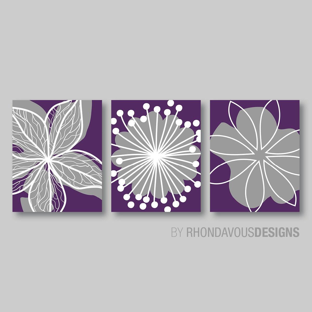 Purple flower print trio home petals bloom wall art bedroom for Purple wall decor