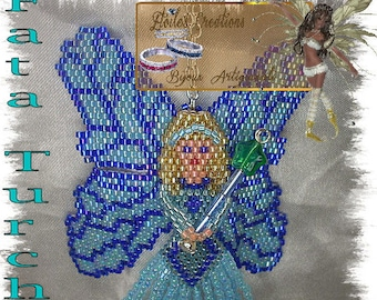Blue Fairy Pattern in italian and french