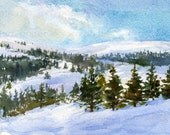 "Above the Clouds - ORIGINAL WATERCOLOR Painting by Linda Henry - Miniature Watercolor 5""x7"" - Matted - Ready to Frame (#157)"