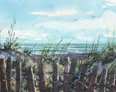 "BEACH FENCES - Seascape Watercolor Painting by Linda Henry - Miniature Watercolor - 5""x7"" - Ready to Frame - Includes a Custom Mat (#296)"