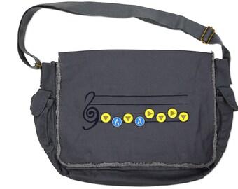 Legend of Zelda Inspired Hero Messenger Bag - Zora Blue/Brass Pin Set