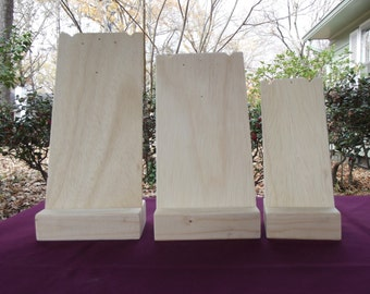 Necklace Display Stands Set 3 Sizes Unfinished Wood Jewelry Craft Show Handmade Durable Portable Craft Display