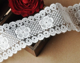 White Cotton Tulle Lace Trim Flower Embroideried Lace 2.36 Inches Wide 2 yards E1031