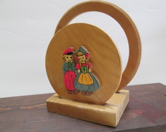 Vintage wood napkin holder featuring dutch boy and girl,  Dutch children napkin holder, vintage napkin holder,  kitschy napkin holder