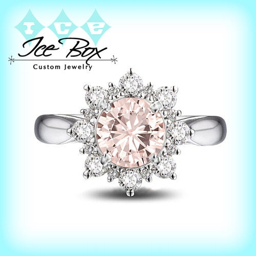 pink moissanite engagement ring 15ct round peach by