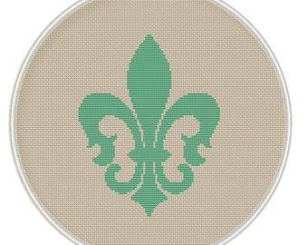 Cross stitch Pattern, PDF cross stitch, Instant download, Fleur-de-lis, cross stitch Lily