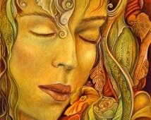 Autumn Goddess , Peaceful Goddess, Mother Earth Goddess, Goddess art print