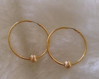 Hoop Earrings With Gold Bead