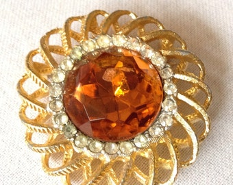 Vintage 1970's Brooch/Pendent.Amber and Clear Stones