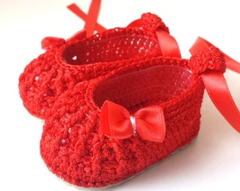 Hand knitted baby booties , Hand knitted summer silk baby booties, silk baby booties with satin ribbon and anti-slippery sole for outside