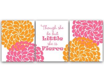 Pink and Orange Nursery CANVAS Art, Nursery Wall Art, Hawaiian Nursery, Kids Wall Art, Floral Nursery Art, Though She Be But Little - KIDS44