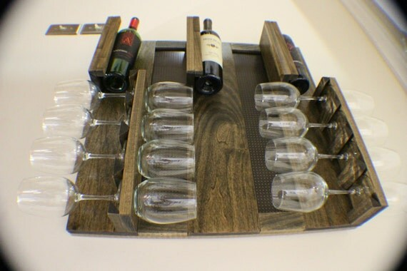 amazing ash stained wall mounted wine rack with shelves and. Black Bedroom Furniture Sets. Home Design Ideas