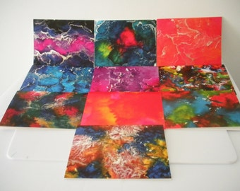 Assorted Melted Crayon Art Set of Ten Blank Note Cards