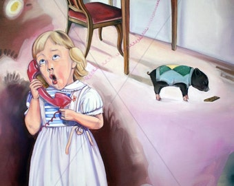 "Fineart Giclée print ""Rosalie and piglet"""
