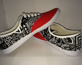 Unique/tribal white-black-color Vans