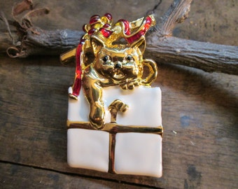 Vintage Gold Tone Cat and Christmas Package Brooch