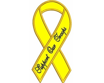 Support Our Troops Yellow Ribbon Applique Machine Embroidery Digitized Pattern - Instant Download 4x4 , 5x7, 6x10 hoops
