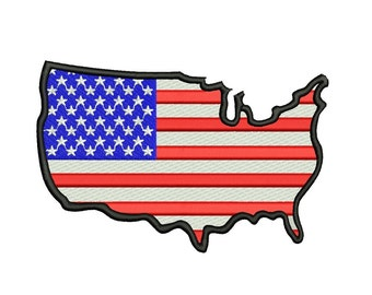 American Flag USA Patriotic Filled Machine Embroidery Digitized Design Pattern - Instant Download - 4x4 , 5x7, 6x10