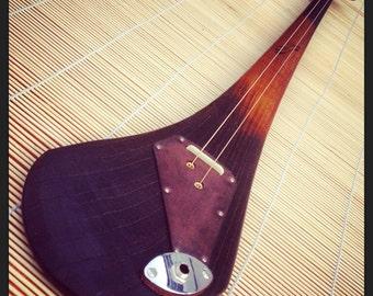 DaShtick slide guitar. Two-string Celtic diddley bow. CBG.