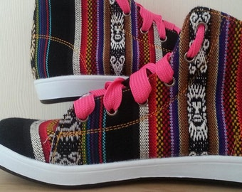 Pancho's Footwear - Women's Black Hi-Top Sneakers