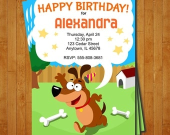 Dog Party Invitation - printable birthday invite for a Pet or Doggy Theme Birthday Party