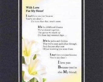 Heartfelt Poem for Family Members  – With Love for My Sister Poem on 11x14 Double-Beveled Matting