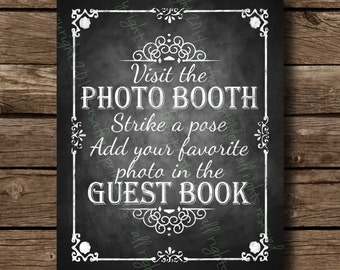 Printable Photo Booth Guestbook Photo Album - Chalkboard Wedding Sign - DIY Download and Print