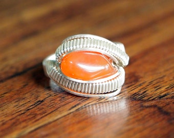 Any Size! Orange Carnelian Wire Wrapped Sterling Silver Ring - Full Sterling Wire Wrap Band