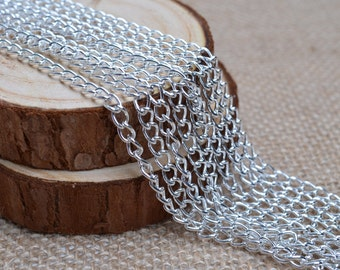16ft of 4x5mm Round Link Silver Chains,Iron Chain,Small Silver Chains,Oval Link Twisted Chains-Unsoldered,Nickel and Lead Free