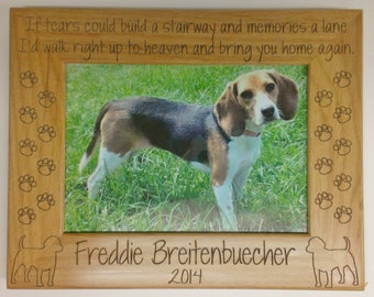 Pet Memorial Picture Frame 5x7 , Dog, Pet Custom Laser Engraved Frame