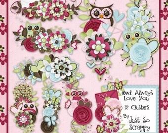 Owl Always Love You Digital Scrapbook Kit Clusters - Digital Scrapbooking