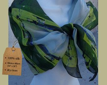 Highway motif scarf EMERALD GREEN