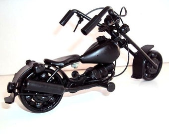 Hand Carved Black Metal Art Model Motorcycle HARLEY DAVIDSON -Handmade Gift