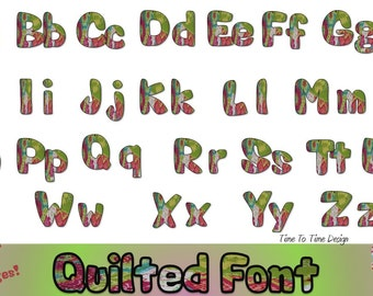 Quilted font clipart!  Beautiful pinks and greens for you digital projects!